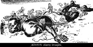 """colonialism, German colony, Africa, caricature about the colonization of Africa """"Sunday Dispatch"""", London, circa 1900, historic,"""